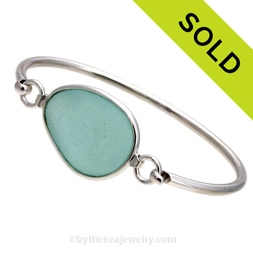 Genuine Medium  Vivid Aqua Sea Glass Bangle Bracelet set in our Deluxe Wire Bezel© sterling silver setting. Sorry this piece of Sea Glass Jewelry has been SOLD!