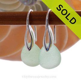 Simple beach found seafoam green sea glass pieces on solid sterling silver deco hooks, Sorry these Sea Glass Earrings have been SOLD!