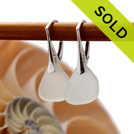 Shaped only by the sea, these natural sea glass pieces really glow hanging from these solid sterling silver leverbacks. Sorry these Sea Glass Earrings have been SOLD!