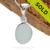 A nice piece of top quality pure white English sea glass pendant set with a premium Swarovski gem in a tube bezel setting. Sorry this Sea Glass Jewelry selection is NO LONGER AVAILABLE!