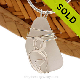 White Natural Sea Glass In Sterling Waves© Setting Pendant for Necklace