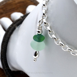 Deluxe heavier 4.6MM solid sterling Rolo Chain Anklet with green and seafoam sea glass pieces.