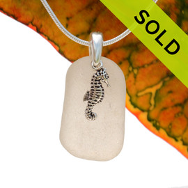 A perfect piece of pure white sea glass is combined with a solid sterling sea horse and presented on an 18 Inch solid sterling snake necklace chain., Sorry this Sea Glass Necklace has been SOLD!