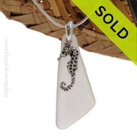 """Larger White Angular Sea Glass Necklace With LARGE Seahorse Charm - 18"""" Solid Sterling CHAIN INCLUDED"""
