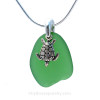 """Genuine natural sea glass necklace comes on our 18"""" solid sterling smooth snake chain (SHOWN and included)."""