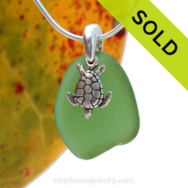 Larger Green sea glass set on a solid sterling cast bail with a sterling silver turtle charm.  Sorry this Sea Glass Necklace is NO LONGER AVAILABLE!