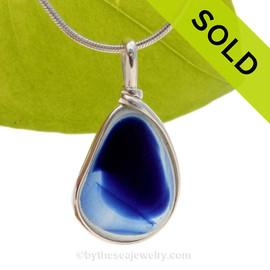 Royal Splash - Flashed Royal Blue English Sea Glass Sterling Original Wire Bezel© Pendant