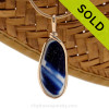 A large and long mixed inky blue sea glass pendant set in 14K Rolled Gold Bezel. SOLD - Sorry This ULTRA RARE Sea Glass Jewelry Pendant  Is NO LONGER AVAILABLE!