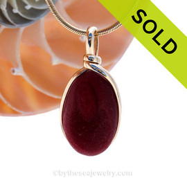 This is an almost perfect piece of opaque red Sea Glass Pendant in an elegant 14K goldfilled setting. SOLD - Sorry this Ultra Rare Sea Glass Jewelry piece is NO LONGER AVAILABLE!