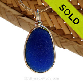This is a LONG lovely and thick piece of brilliant deep royal blue naturally found sea glass in my Original Gold Wire Bezel© pendant for a necklace. SOLD - Sorry this  Rare Sea Glass Necklace is NO LONGER AVAILABLE!