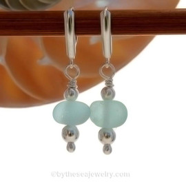Genuine Aqua Sea Glass Earrings with sterling details and AAA grade pearls on solid sterling leverback earrings.