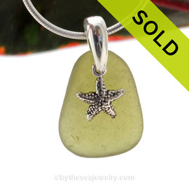 "Bright Citron Green Sea Glass With Sterling Silver Starfish Charm - 18"" STERLING CHAIN INCLUDED . Sorry this Sea Glass Necklace has been SOLD!"
