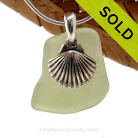 """A Large Olive  Green Sea Glass Necklace With Sterling Silver Large Sea Shell Charm - 18"""" STERLING CHAIN INCLUDED. Sorry this Sea Glass Jewelry piece has been SOLD!"""