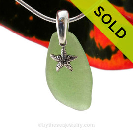 """Green Sea Glass With Sterling Silver Starfish Charm - 18"""" STERLING CHAIN INCLUDED  Sorry this Sea Glass Necklace has been SOLD!"""