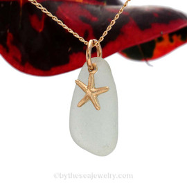 A perfect petite Seafoam Green sea glass necklace is combined with a 14K G/F starfish charm and comes WITH this 18 Inch 14K Goldfilled curb chain!.