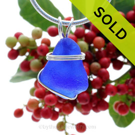 Vivid Cobalt Blue  sea glass set in our basic Beach Solid sterling setting. A great pendant for any necklace! Sorry this Sea Glass Necklace has been SOLD!~