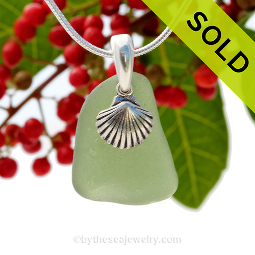 "Bright Citron Green Sea Glass With Sterling Silver Sea Shell Charm - 18"" STERLING CHAIN INCLUDED. SOLD - Sorry This Sea Glass Jewerly Selection Is NO LONGER AVAILABLE!"