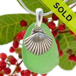 "A Large Olive  Green Sea Glass With Sterling Silver Large Sea Shell Charm - 18"" STERLING CHAIN INCLUDED . SOLD- Sorry this Sea Glass Necklace is no longer available."
