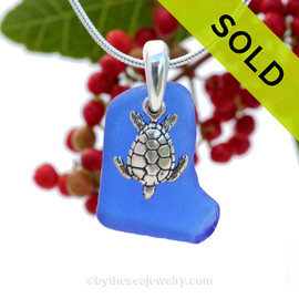 Vivid Cobalt Blue Sea Glass Necklace set on a solid sterling cast bail with a sterling silver Sea Turtle charm. Sorry this Sea Glass Jewelry Selection has been SOLD!