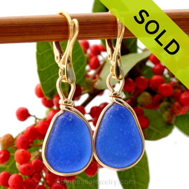 Vivid petite cobalt blue Sea Glass Earrings set in our Original Wire Bezel© setting in 14K Goldfilled. SOLD - Sorry this Sea Glass Jewelry selection is NO LONGER AVAILABLE!