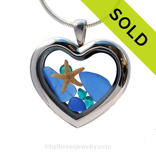 Cobalt Blue sea glass combined a large silver heart locket necklace finished with Sapphire Gems. SORRY  - this Sea Glass Locket has been SOLD!