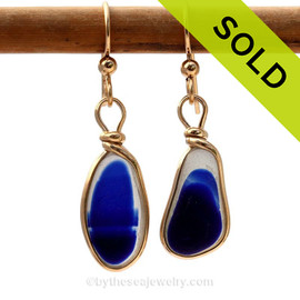 ULTRA RARE Multi Flashed Blue Genuine Sea Glass In Gold Wire Bezel© Earrings