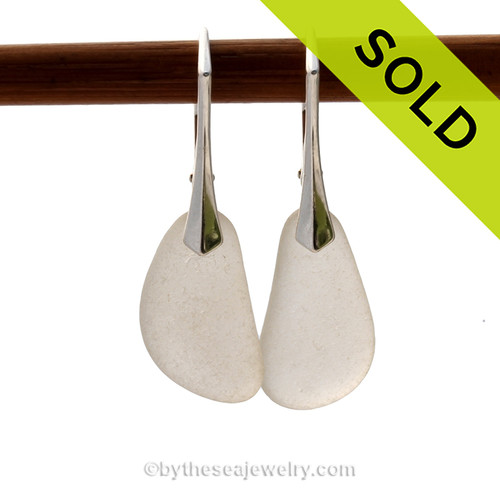 SOLD - Sorry these Sea Glass Earrings are NO LONGER AVAILABLE! Shaped only by the sea, these natural sea glass pieces really glow hanging from these solid sterling silver leverbacks. Simple and elegant genuine sea glass earrings
