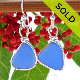 Bright Blue Sea Glass Earrings in our Original Wire Bezel© setting in solid Sterling Silver. SOLD - Sorry this Sea Glass Jewelry selection is NO LONGER AVAILABLE!