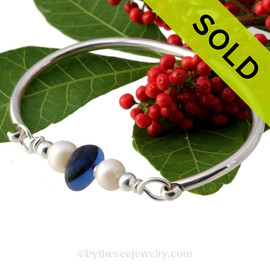 Deep Sea Dreams -  Mixed Deep Blue Seaham Sea Glass Bangle Bracelet In Sterling W/ Pearls