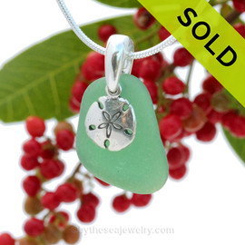 "Emerald Green Sea Glass With Sterling Silver Sandollar Charm - 18"" STERLING CHAIN INCLUDED"