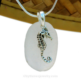 A perfect round and frosty piece of pure white sea glass is combined with a solid sterling LARGE Seahorse charm and presented on an 18 Inch solid sterling snake necklace chain. A great Genuine Sea Glass Necklace for any beach lover!