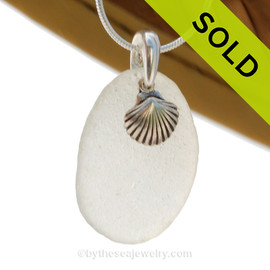 """Pure white Genuine Sea Glass Necklace With Sterling Silver Sea Shell Charm - 18"""" STERLING CHAIN INCLUDED. SOLD - Sorry this Sea Glass Necklace is NO LONGER AVAILABLE!"""