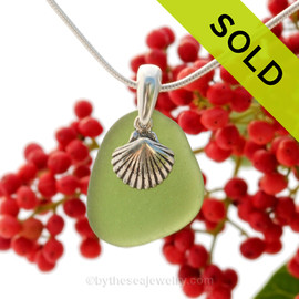 """Bright Seaweed Green Sea Glass With Sterling Silver Sea Shell Charm - 18"""" STERLING CHAIN INCLUDED. SOLD - Sorry This Sea Glass Jewerly Selection Is NO LONGER AVAILABLE!"""