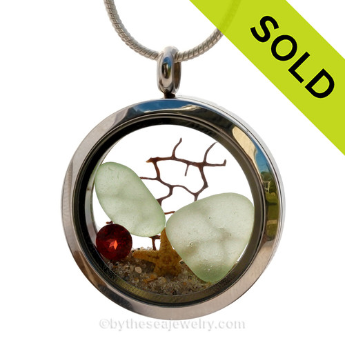 Soft Sea Green Sea glass and genuine garnet make this a great locket necklace for the holidays or a January Beach Lover! SOLD - Sorry this Sea Glass Locket is NO LONGER AVAILABLE!