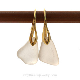 A pair of perfect natural beach found Sea Glass Earrings in white on 24K Gold Vermeil Leverbacks This is the EXACT pair of Sea Glass Earrings you will receive!