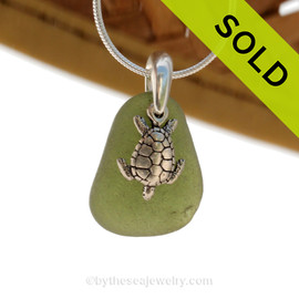 "Bright Seaweed Green Sea Glass With Sterling Silver Sea Turtle Charm - 18"" STERLING CHAIN INCLUDED"
