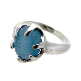 Royal Blue - Natural UNALTERED Sea Glass Ring In Sterling  - Size 7 (Re-Sizeable)