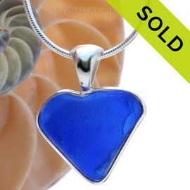 Blue Love - Cobalat Blue Natural Sea Glass Heart In Deluxe Sterling Bezel© Necklace Pendant
