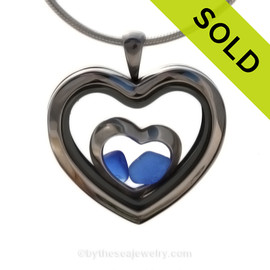 Our new heart lockets make this cobalt blue sea glass really shine! A solid sterling heart inside for extra love. Genuine beach found glass.