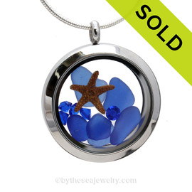 Stars In The Sea - Blue Sea Glass Locket With Starfish & Sapphire Gems - September Birthstone (LOCK1918 SOLD - Sorry this Sea Glass Locket is NO LONGER AVAILABLE!