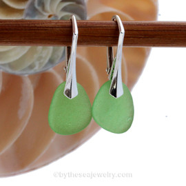 Green genuine sea glass pieces shaped only by the sea, sand and time are suspended on solid sterling leverback earrings. This is the EXACT pair of Sea Glass Earrings you will receive!