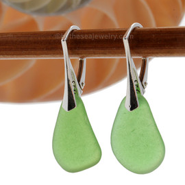 Genuine Sea Glass Earring shaped only by the sea, sand and time are suspended on solid sterling leverback earrings. This is the EXACT pair of Sea Glass Earrings you will receive!