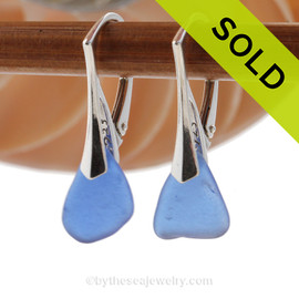 Petite Simple Genuine Beach Found Blue Sea Glass Earrings on Sterling Silver Leverbacks. SOLD - Sorry these Sea Glass Earrings are NO LONGER AVAILABLE!
