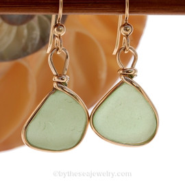 Genuine beach found vivid yellowy seafoam green sea glass earrings in a 14K Rolled Gold Original Wire Bezel setting.