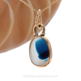 Mixed Small Aqua English Multi Sea Glass Charm Necklace in 14K Goldfilled