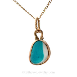 Mixed Small Electric Aqua English Multi Sea Glass Charm Necklace in 14K Goldfilled