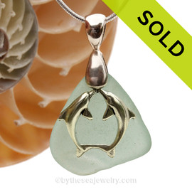 "LARGER Pale Aqua Blue sea glass set on a Solid Sterling large cast bail with a Sterling Silver Kissing Dolphins Charm -  18"" Quality Chain INCLUDED!"