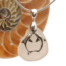 """Pure White Genuine Sea Glass Necklace set on a Solid Sterling large cast bail with a Sterling Silver Kissing Dolphins Charm -  18"""" Quality Chain INCLUDED!"""