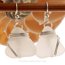 LARGE Pure White Sea Glass  Earrings in triple solid sterling silver setting.