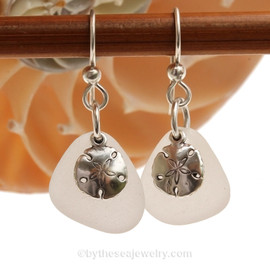 Genuine Beach Found pure White Sea Glass Earrings in sterling with Sterling Silver Sandollar charms.